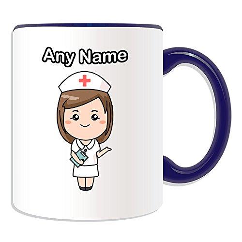 Personalisiertes Geschenk–Krankenschwester in weiß Kleid Tasse (Gesundheit Service Design Thema, Farbe Optionen)–alle Nachricht/Name auf Ihre einzigartige–National NHS Krankenhaus Worker Staff Uniform rot Kreuz Hat, keramik, blau (Krankenhaus-uniformen)