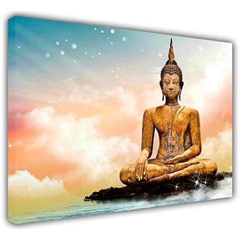 Grandes Lienzos Arte de la pared impresiones Iconic Golden Estatua de Buda meditando en Isla encima de nubes y estrellas decoración de paisaje de impresión hogar fotos decoración de la habitación imagen, lona madera, 3- 16