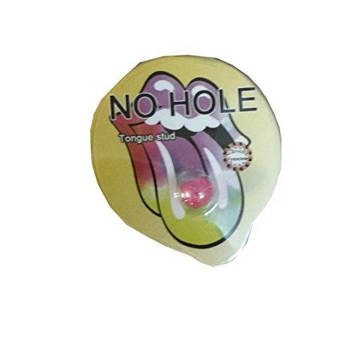 Finto piercing per lingua a ventosa, ipoallergenico, non richiede foro, confezione da 1 pezzo, materiale non metallico
