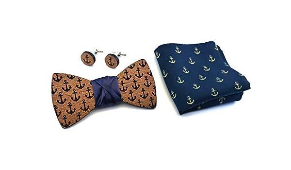 GIGETTO Papillon e Gemelli in legno di mogano Nodo raso blu notte Fazzoletto taschino Ancore Made in Italy