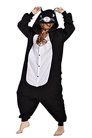 ABYED® Jumpsuit Tier Karton Fasching Halloween Kostüm Sleepsuit Cosplay Fleece-Overall Pyjama Schlafanzug Erwachsene Unisex Lounge,Erwachsene Größe M - für Höhe 159-166CM Schwarze