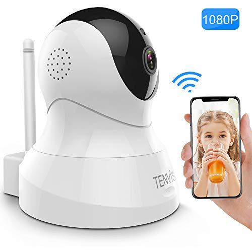 Tenvis IP Kamera 1080P HD WLAN Kamera Überwachungskamera mit Nachtsicht, Bewegungserkennung, 2 Wege Audio, IR Infrarot Smart Home Kamera und unterstützt Mikro-SD Indoor-Baby/Haustier-Monitor - Infrarot überwachungskamera