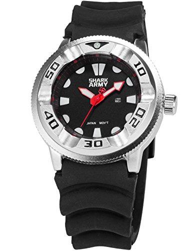 SHARK ARMY Herren Armbanduhr Analog Datum Anzeige Milit?r schwarz Silikon Armband Quarzuhr SAW103