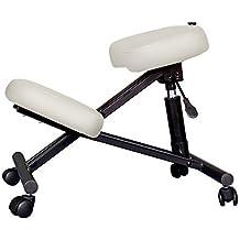 Kendan Marsden Blanco - Ortopédico Ergonómico Taburete de rodilla Postura por Computadora Oficina cosmética salón de belleza manicura giratorio terapia reiki