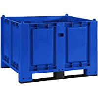 Palettenbox mit 2 Kufen, LxBxH 1200 x 800 x 850 mm, blau, Boden/Wände geschlossen, Tragkraft 500 kg
