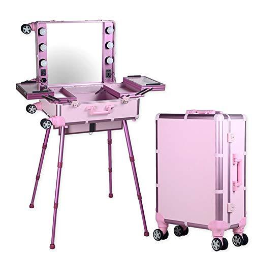 QIONGQIONG Tragbare Kosmetik Make-up Box Zug Fall Schönheit Reise Box Künstler Barber Reise Rollwagen Organizer Box Mit Spiegel Mit Licht/Unterstützung/Spiegel,pink