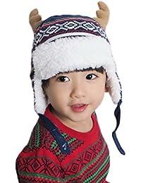 c625a392db32 Smile YKK Bonnet Renne Chapeau Bébé Enfant Fausse Fourrure Coton Cache  Oreilles Tricot Mignon