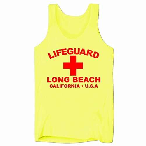 (Herren Lifeguard Long Beach California USA Surfer Beach Kostüm Low Cut Träger-Shirt Neon Gelb XL)