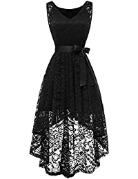 Berylove Rockabilly Robe de Soirée Cocktail sans Manche High Low en Dentelle