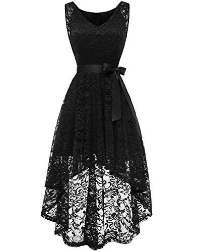 Berylove Damen Cocktailkleid Spitzen V Ausschnitt Ärmellos Elegant Hi-Lo Partykleider BLP7018BlackXS Prom Party Kleid