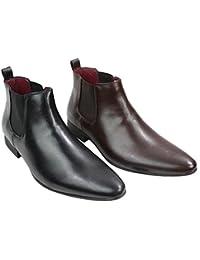Bottines homme noir marron hauteur chevilles cuir style italien Chesea avec lacets