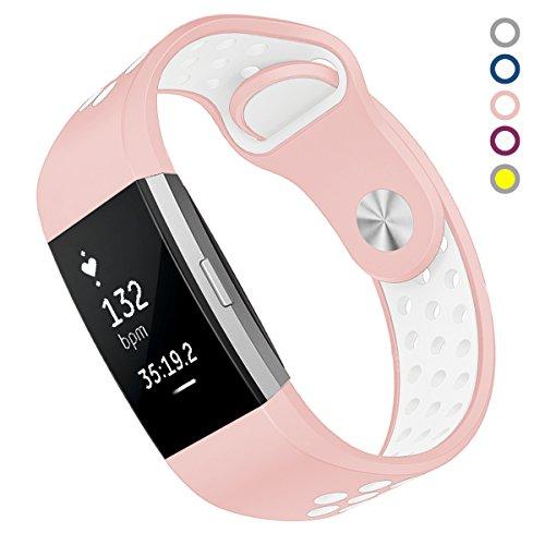 Silber Sport Armband (Fitbit Charge 2 Armband, Yometome Neues Design Zubehör komfortabel Weiches Kieselgel Flexibel Einstellbar Band Verblasst nicht Mode Sport Mixcolor Armband Mit atmungsaktivem Loch)