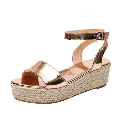 sandalen mädchenLeopard Strap Ankle Buckle Platform Wedges gewebte Sandalen römische Schuhe(42, Gold) Ankle Strap Platform Wedge
