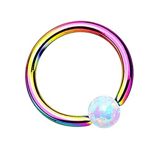 Piersando Piercing Klemmring Ring mit Opal Klemm Kugel Septum Nasen Lippen Helix Ohr Nasenpiercing Tragus Rainbow Weiß 1,2 x 8mm