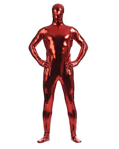 Herren Second Skin Kostüm Ganzkörperanzug Anzug Suit Catsuit Anzug Halloween Dunkelrot (Suit Skin Kostüm Halloween)