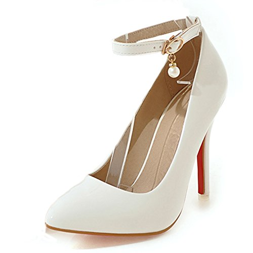 Aisun Damen Elegant Lackleder Pointed Toe Pumps Mit Knöchelriemchen Weiß