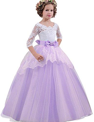 NNJXD Mädchen Festzug Stickerei Prom Kleider Prinzessin Hochzeit Kleidung Größe(130) 8-9 Jahre Lila (Amazon Prom Kleider)