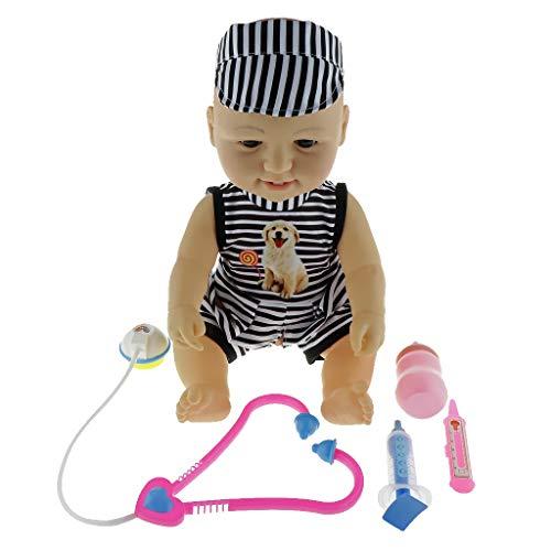 CUTICATE Lebensechtes Interaktive Junge Baby Puppe Sprechende Spielpuppe Funktionspuppe mit Doktorset Zubehör, Kinder Arzt Rollenspiel Spielzeug (Puppe Junge Arzt)