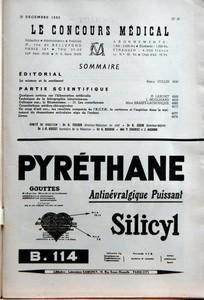 CONCOURS MEDICAL (LE) N? 50 du 10-12-1955 SOMMAIRE - EDITORIAL - LA SCIENCE ET LE SENTIMENT PAR REMY COLLIN - PARTIE SCIENTIFIQUE - QUELQUES NOTIONS SUR L'HIBERNATION ARTIFICIELLE PAR H LABORIT - TECHNIQUE DE LA BILIOGRAPHIE INTRAVEINEUSE PAR J MOULINARD - COLLOQUE SUR LE RHUMATISME - III LES COXARTHROSES PAR MME BASSET-LACRONIQUE - CONSULTATIONS MEDICO-CHIRURGICALES - UN COUP D'OEIL SUR LES RESULTATS COMPARES DE L'ACTH LA CORTISONE ET L'ASPIRINE DANS LE TRAITEMENT DE RHUMATISME ARTICULAIRE A...