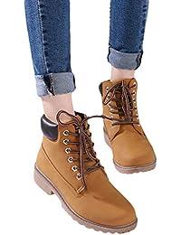 Zapatos de Invierno otoño Mujer Botas de tacón Plano Botas Martin Botines de Combate Combate Senderismo de Gran Altura Zapatos con Cordones