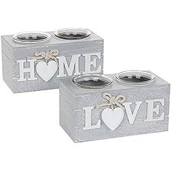 Shabby Chic gris Provence corazón Portavelas doble disponible en amor o el hogar, Home