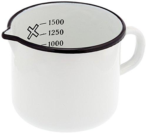 Krüger Milchtopf mit Ausguss 1,5 L, Emaille, Weiß, 14 cm