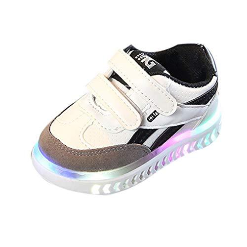 chuhe Kleinkind Kinder Baby Schuhe mit Licht LED Leuchtschuhe Weiß Turnschuhe Blinkende Sneaker 21-30 Sportschuhe(Weiß,24 EU) ()