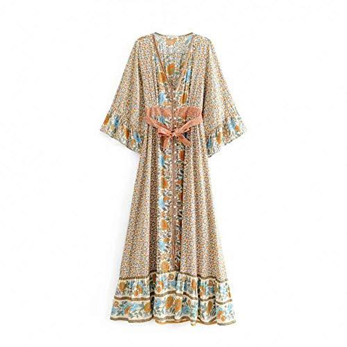 DAIDAILYQ Boho Hippie Beach Dress Blumendruck Damen Kleider Bohemian Summer Maxi Dress Damenbekleidung -