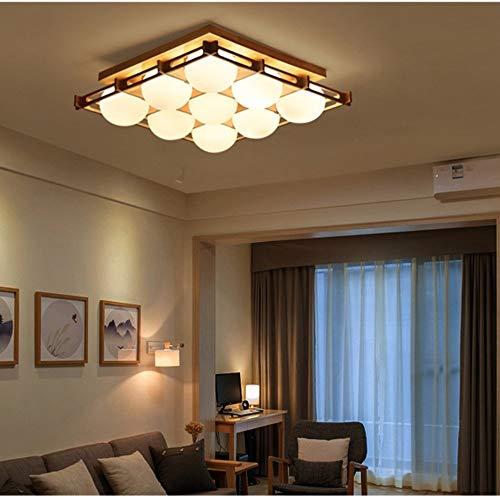 AG Wohnzimmer-Schlafzimmer-Korridor-Beleuchtung, Haushalts-Deckenleuchte Kreative Persönlichkeits-Massivholz-Lampen sind anwendbar Wohnzimmer-Schlafzimmer-Qualitäts-Deckenleuchte,72 * 72 cm - Lackiert, Glasschirm
