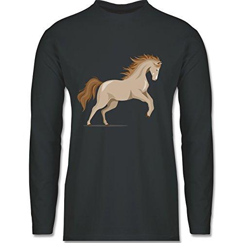 Shirtracer Pferde - Steigendes Pferd - Herren Langarmshirt Dunkelgrau