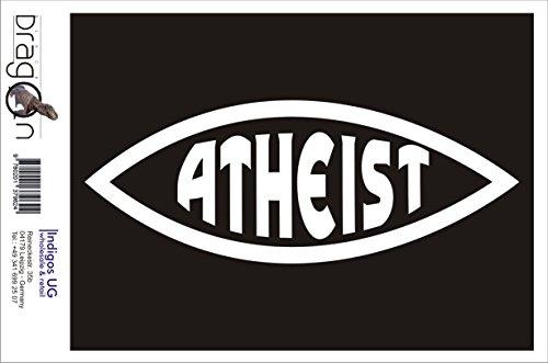 Aufkleber / Autoaufkleber - JDM / Die cut / Auto / OEM - Atheist Fisch - 160x60 mm weiß - Heckscheibe / Heckscheibenaufkleber