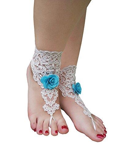 YuRong 2 Stück Häkelbarfuß-Sandalen Spitze Fußkettchen Armreifen Strand Hochzeit Zubehör F02 - Blau - Einheitsgröße
