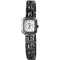 Omax Women's Quartz Watch White Titanium Look Analogue Metal Wristwatch