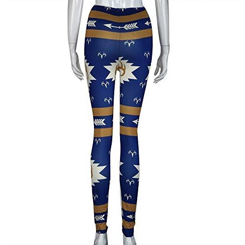 HILOTU Damen Stretch Yoga Hosen Einzigartige Persönlichkeit Die Nahtlose Turnhallen-athletische Hosen Druckt Modische Hohe Taille Weiche Bequeme Dünne Gamaschen (Color : Blau, Size : - Girl Blue Link Kostüm