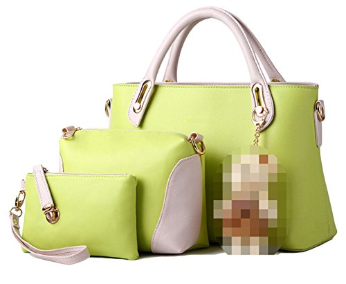 Donne Di Cuoio Di Cucitura PU Three-piece Borse Green