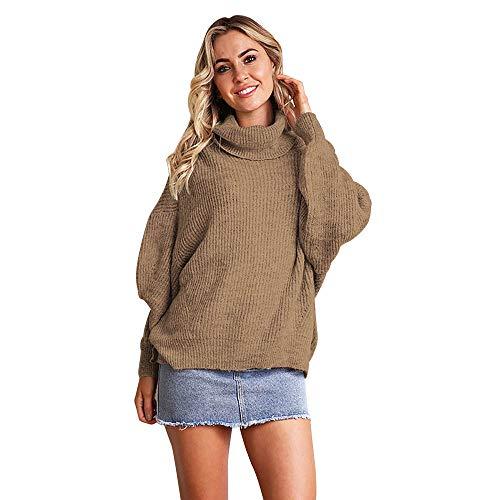 3/4 Puff Ärmel Pullover (Frau Mode Pullover, Lose Rollkragen Langarm Sweatshirt Pullover Tops Pure Color Puff Sleeve Bluse Shirt)