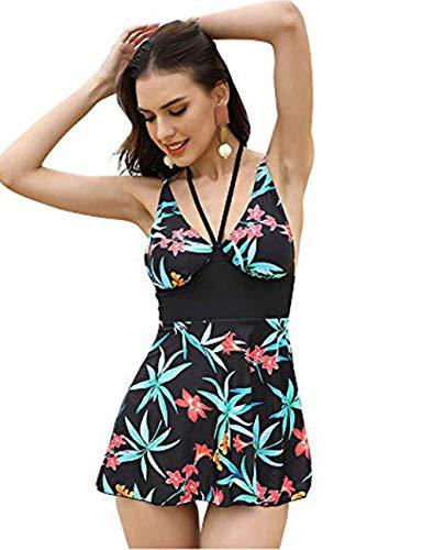 FeelinGirl Damen Neckholder Push Up Badekleid Figurformender Badeanzug mit Röckchen Bauchweg Einteiliger Badekleid 3XL Grün