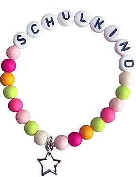 Schulkind-Armband - Mädchen - Frühlingsfarben mit Sternanhänger
