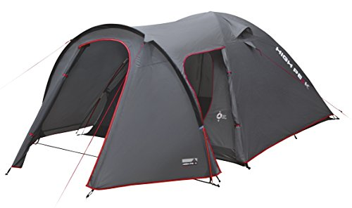 High Peak 4 Tente, Camping, Outdoor, Kira Adulte Unisexe, Gris foncé/Rouge, 250x350x135 cm