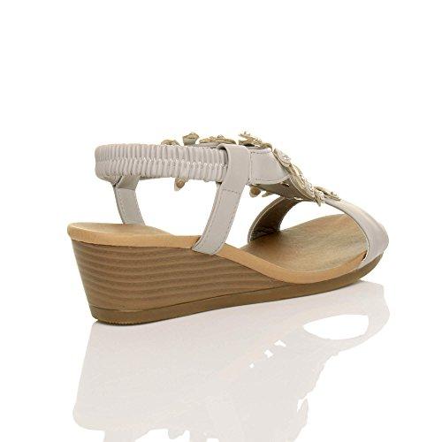 Damen Mittlerer Keilabsatz Slingbacks Blume Zehentrenner Sommer Sandalen Größe Grau