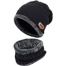 ff618b7c60d0 EDOTON Bonnet Tricot avec Écharpe de Doublure Polaire, Hiver Chauffant Tricotés  Casquettes Chapeau Beanie pour