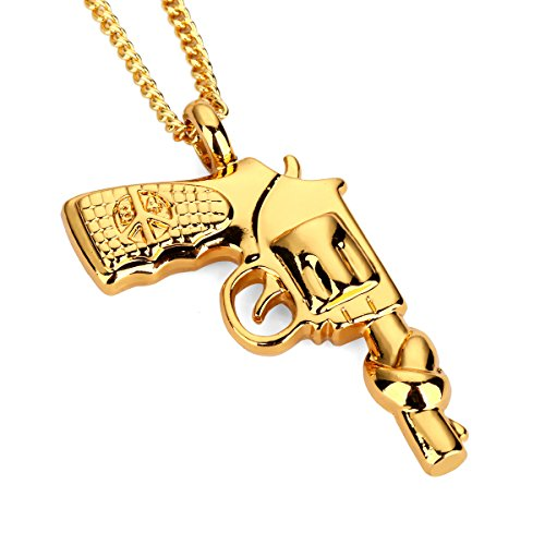 nyuk Catenina Collana Oro Bling, Unisex Hip Hop pistola revolver ornamenti