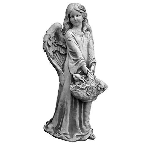 Liebevolle, sehr große Engel Figur mit Blumenkorb aus Steinguss, frostfest Grabdeko (Engel Garten)