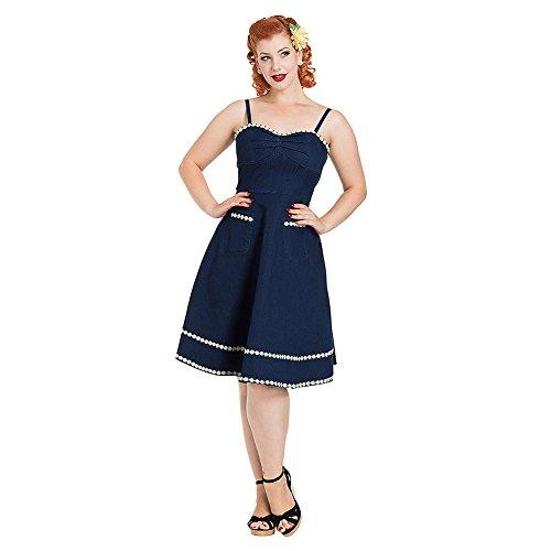 Voodoo Vixen Kleid Daisy May Denim Flared Dress 8455 (XL, Blau)