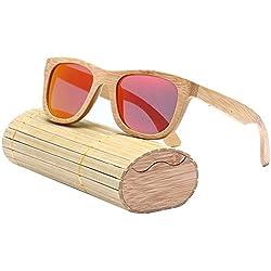 AOLVO - Gafas de Sol de bambú, polarizadas, 100% protección UV400, para Hombre y Mujer con Caja de Almacenamiento, Rojo