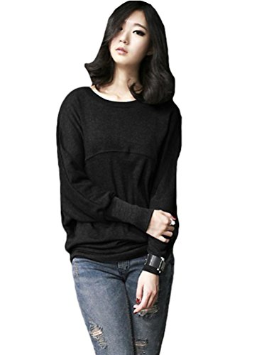 MatchLife Damen Plus Size Sweatshirt Rundhals Batwing Top Style6-Schwarz