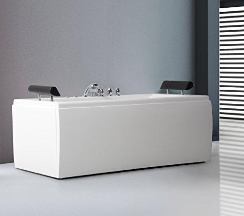 Whirlpool Badewanne Manhattan mit 14 Massage Düsen + LED Unterwasser Beleuchtung / Licht + Wasserfall freistehende Wanne Hot Tub Spa indoor / innen günstig