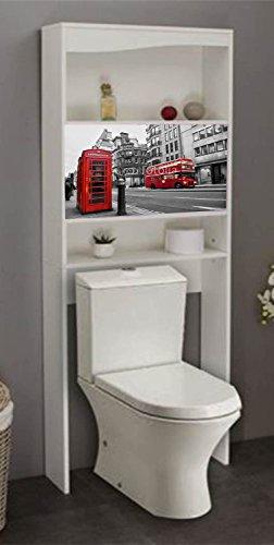 PEGANE Meuble WC London en Bois avec 2 Portes coulissantes, 63 x 23 x 175 cm