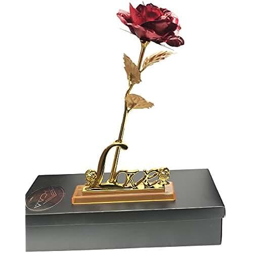 Flores de rosas 24K bañados en oro Love soporte del día de San Valentín presente regalo ser amado