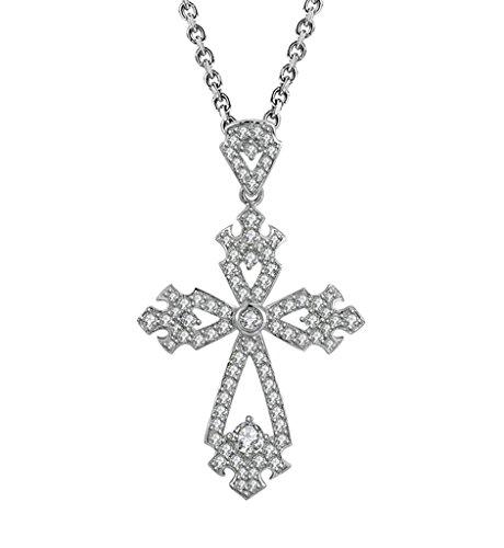 Aooaz Femmes Mesdames Argent Pendentif Collier Croix Amour Fleur CZ Collier Argent01
